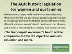 the aca historic legislation for women and our families