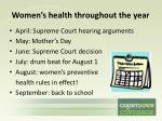 women s health throughout the year