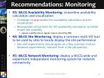 recommendations monitoring