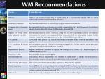 wm recommendations