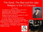 the good the bad and the ugly religion in the 13 colonies