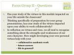 focus group ii questions