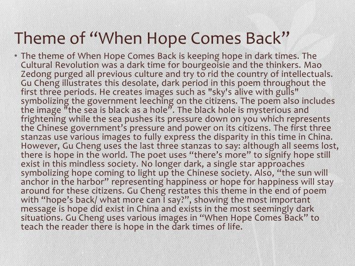 """Theme of """"When Hope Comes Back"""""""