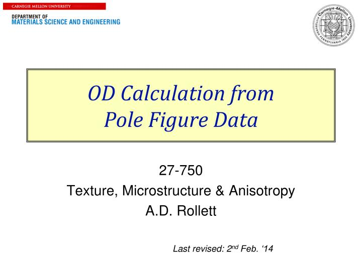 od calculation from pole figure data n.