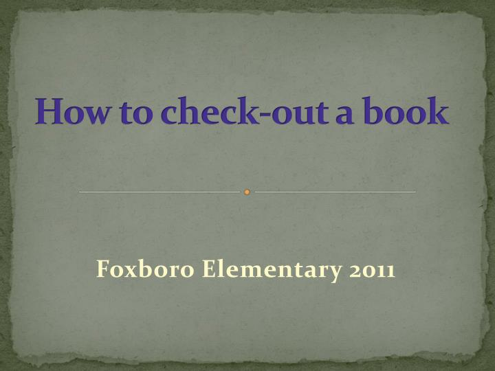 how to check out a book n.