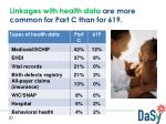 linkages with health data are more common for part c than for 619