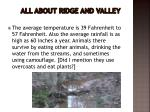all about ridge and valley