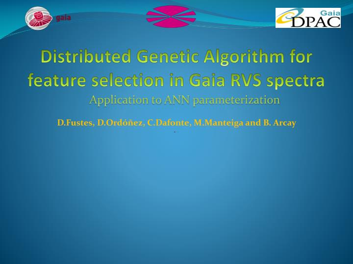 distributed genetic algorithm for feature selection in gaia rvs spectra n.