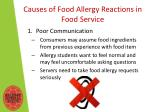 causes of food a llergy r eactions in food s ervice