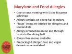 maryland and food a llergies