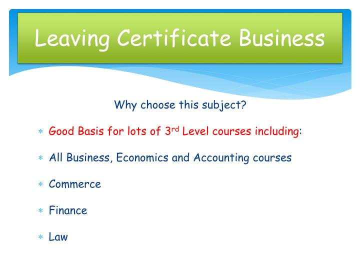 Leaving certificate business1