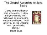 the gospel according to java bistro