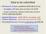 data to be submitted
