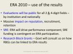 era 2010 use of the results