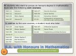 b a with honours in mathematics
