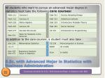 b sc with advanced major in statistics with business administration