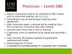 processes levels d e