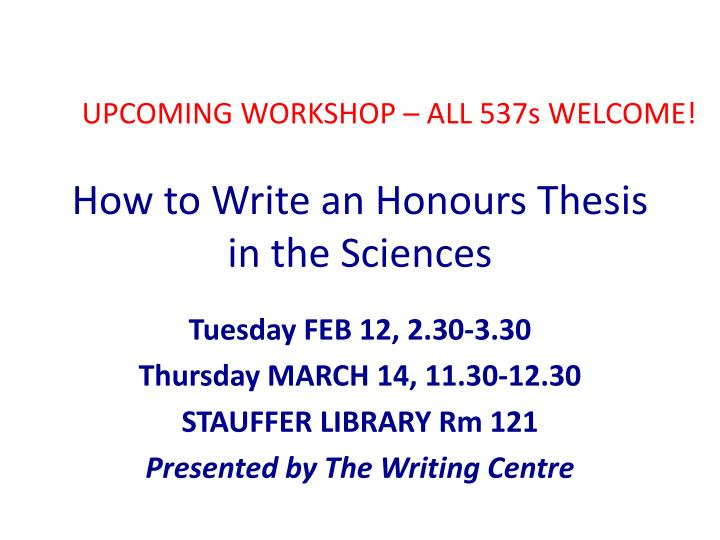 how to write an honours thesis in the sciences n.