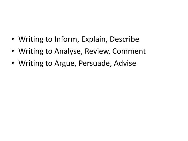 writing to argue and persuade year When writing to argue, persuade and advise, you are offering ideas to other people however, each style does this in different ways if you argue, the writing tends to look at both sides and come to a conclusion.