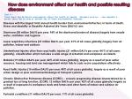 how does environment affect our health and possible resulting diseases