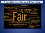 2 words to describe your leadership