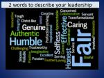 2 words to describe your leadership1