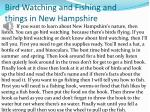 bird watching and fishing and things in new hampshire