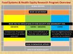 food systems health equity research program overview