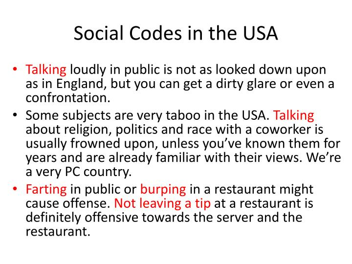 Social Codes in the USA