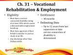 ch 31 vocational rehabilitation employment