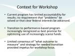 context for workshop