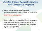 possible broader applications within new competitive programs