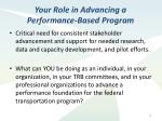 your role in advancing a performance based program