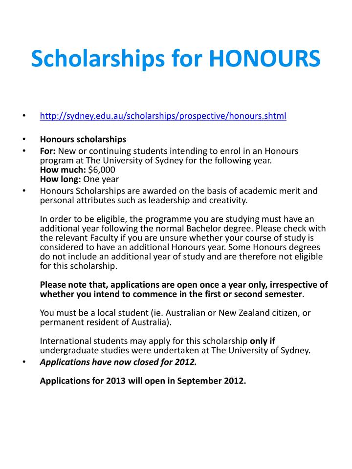 Scholarships for honours