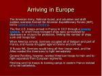 arriving in europe