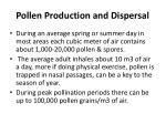 pollen production and dispersal