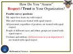 how do you assess respect trust in your organization