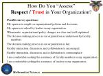 how do you assess respect trust in your organization1