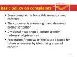 basic policy on complaints