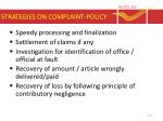 strategies on complaint policy