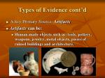 types of evidence cont d