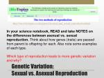 genetic variation sexual vs asexual reproduction