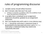 rules of programming discourse