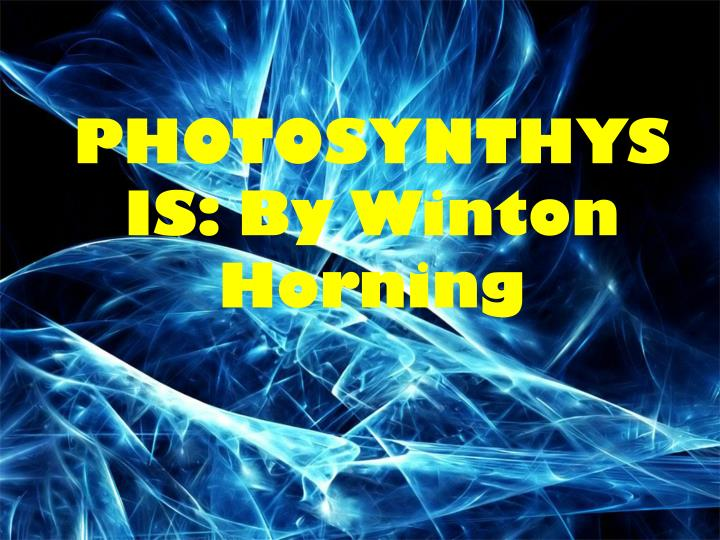 photosynthysis by winton horning n.
