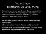 author study biographies 20 50 80 menu