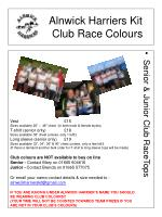 alnwick harriers kit club race colours