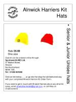 alnwick harriers kit hats
