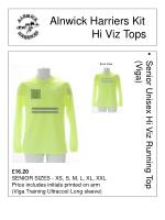 alnwick harriers kit hi viz tops