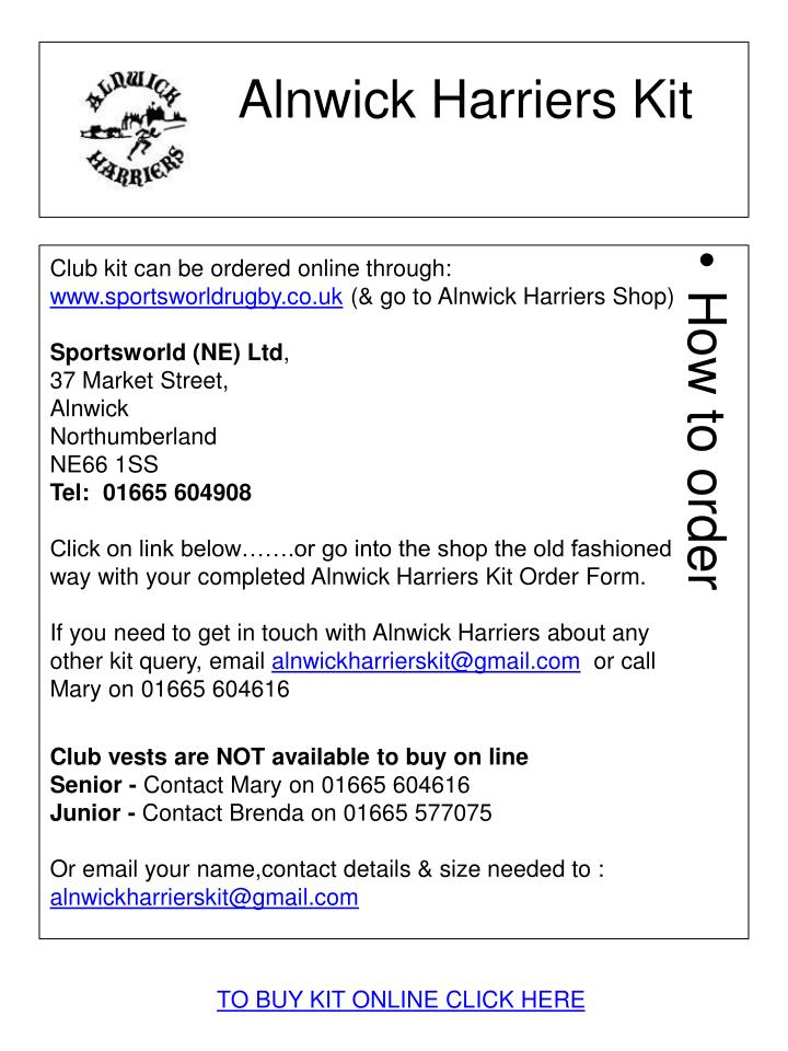 alnwick harriers kit n.