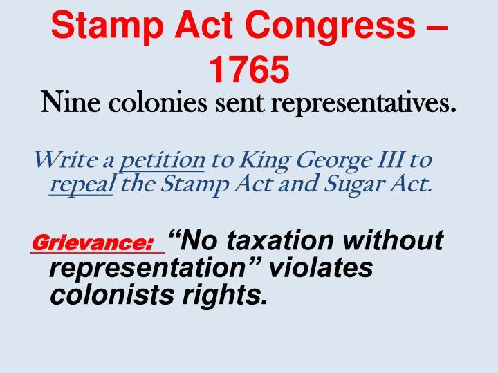 Stamp Act Congress – 1765